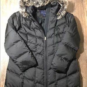 New fur trimmed hood down lands end full zip coat